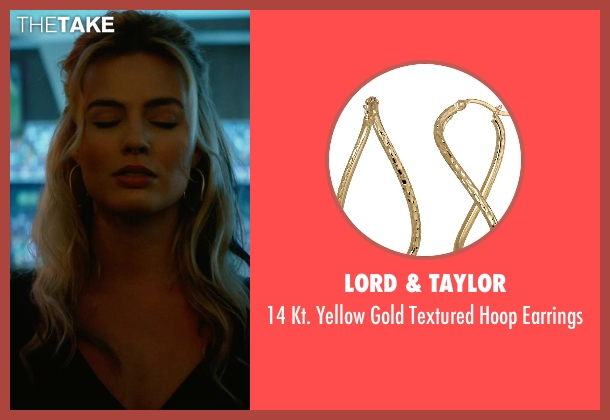 Lord & Taylor gold earrings from Focus seen with Margot Robbie (Jess Barrett)