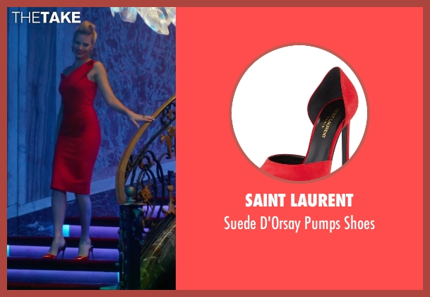 Saint Laurent red shoes from Focus seen with Margot Robbie (Jess Barrett)