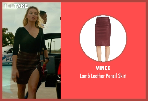 Vince red skirt from Focus seen with Margot Robbie (Jess Barrett)