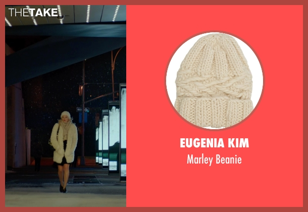 Eugenia Kim white beanie from Focus seen with Margot Robbie (Jess Barrett)