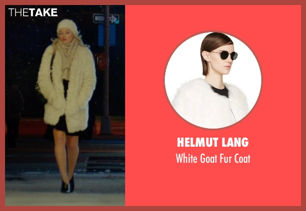 Helmut Lang white coat from Focus seen with Margot Robbie (Jess Barrett)