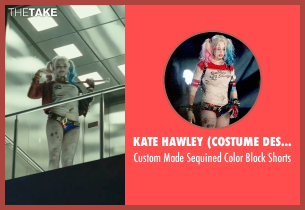 Kate Hawley (Costume Designer) blue shorts from Suicide Squad seen with Margot Robbie (Dr. Harleen F. Quinzel / Harley Quinn)