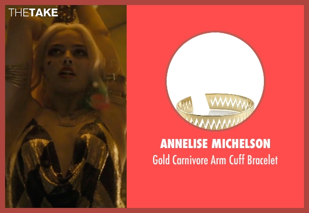 Annelise Michelson gold bracelet from Suicide Squad seen with Margot Robbie (Dr. Harleen F. Quinzel / Harley Quinn)