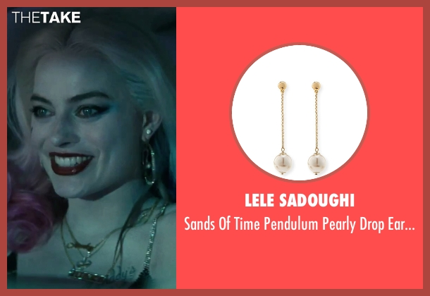 Lele Sadoughi gold earrings from Suicide Squad seen with Margot Robbie (Dr. Harleen F. Quinzel / Harley Quinn)