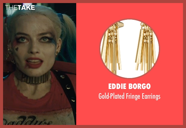 Eddie Borgo gold earrings from Suicide Squad seen with Margot Robbie (Dr. Harleen F. Quinzel / Harley Quinn)