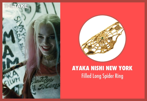 Spinningdaisy gold ring from Suicide Squad seen with Margot Robbie (Dr. Harleen F. Quinzel / Harley Quinn)