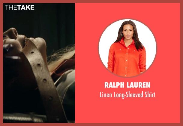 Ralph Lauren orange shirt from Suicide Squad seen with Margot Robbie (Dr. Harleen F. Quinzel / Harley Quinn)