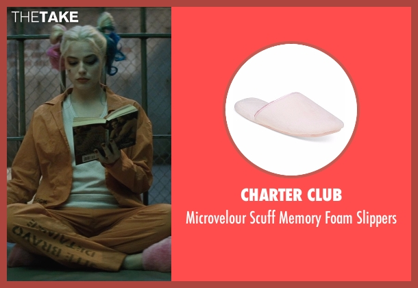 Charter Club pink slippers from Suicide Squad seen with Margot Robbie (Dr. Harleen F. Quinzel / Harley Quinn)
