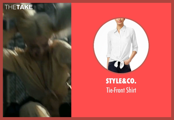 Style&Co. white shirt from Suicide Squad seen with Margot Robbie (Dr. Harleen F. Quinzel / Harley Quinn)