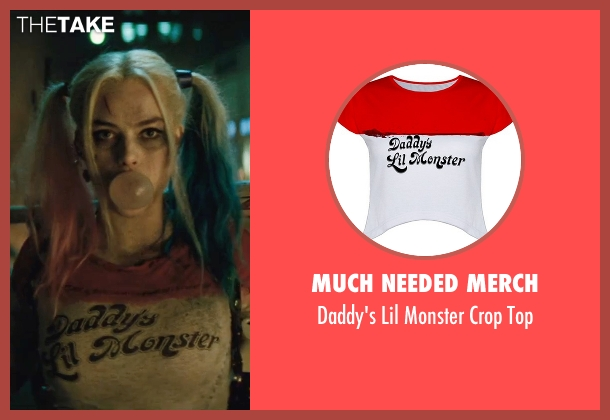 Much Needed Merch white top from Suicide Squad seen with Margot Robbie (Dr. Harleen F. Quinzel / Harley Quinn)