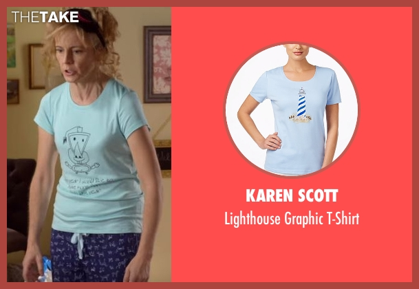 Karen Scott blue t-shirt from Lady Dynamite seen with Maria Bamford