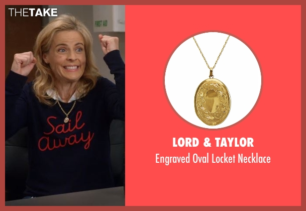 Lord & Taylor gold necklace from Lady Dynamite seen with Maria Bamford