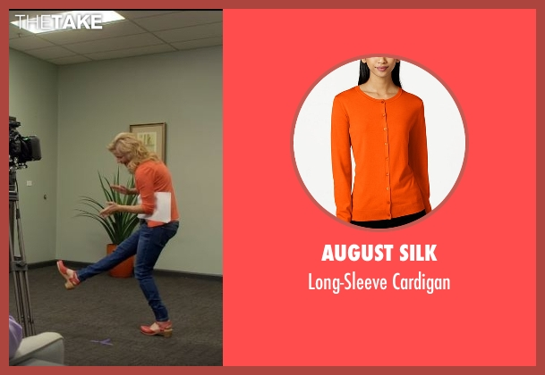August Silk orange cardigan from Lady Dynamite seen with Maria Bamford