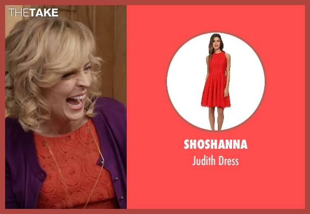 Shoshanna red dress from Lady Dynamite seen with Maria Bamford