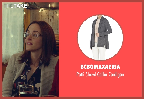 BCBGMAXAZRIA gray cardigan from While We're Young seen with Maria Dizzia (Marina)