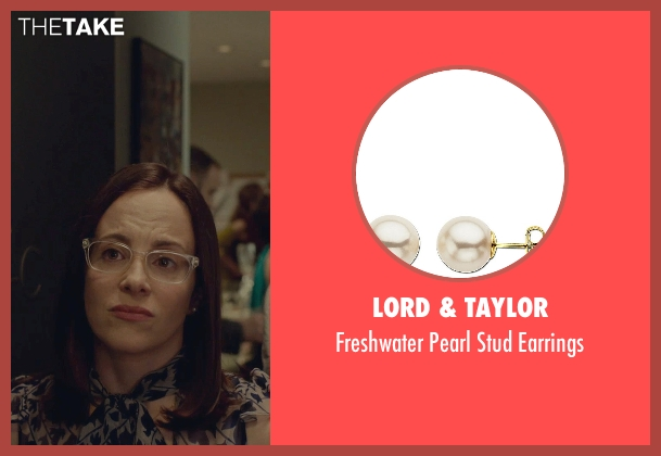 Lord & Taylor white earrings from While We're Young seen with Maria Dizzia (Marina)
