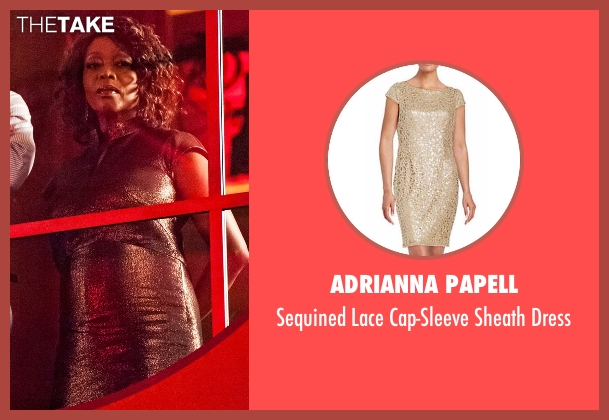 Adrianna Papell  gold dress from Marvel's Luke Cage seen with Mariah Dillard (Alfre Woodard)