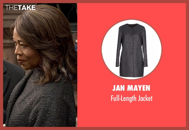 Jan Mayen gray jacket from Marvel's Luke Cage seen with Mariah Dillard (Alfre Woodard)
