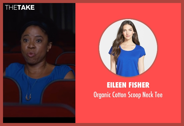 Eileen Fisher blue tee from Trainwreck seen with Marina Franklin (Woman in Back of Theater)
