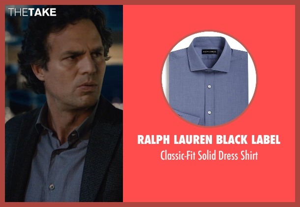 Ralph Lauren Black Label blue shirt from Avengers: Age of Ultron seen with Mark Ruffalo (Bruce Banner / The Hulk)