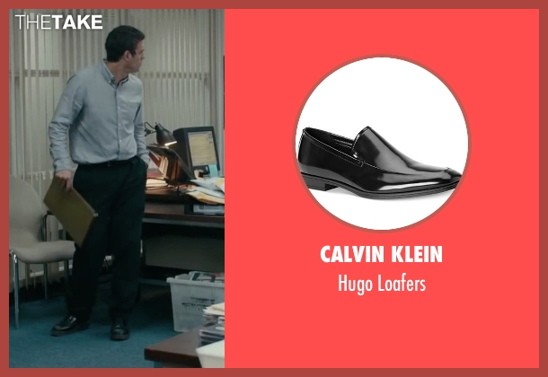 Calvin Klein black loafers from Spotlight seen with Mark Ruffalo (Mike Rezendes)