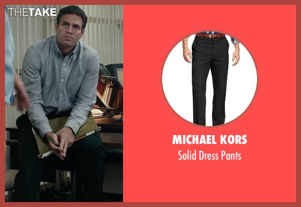 Michael Kors black pants from Spotlight seen with Mark Ruffalo (Mike Rezendes)