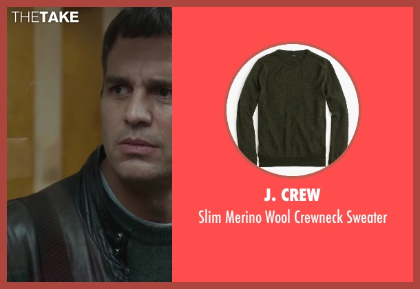 J. Crew green sweater from Spotlight seen with Mark Ruffalo (Mike Rezendes)
