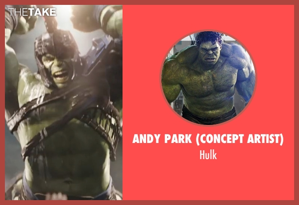 Andy Park (Concept Artist) hulk from Thor: Ragnarok seen with Mark Ruffalo (Bruce Banner / The Hulk)