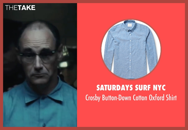 Saturdays Surf NYC blue shirt from Bridge of Spies seen with Mark Rylance (Rudolf Abel)