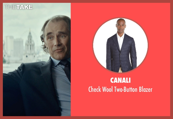Canali blue blazer from The Gunman seen with Mark Rylance (Cox)