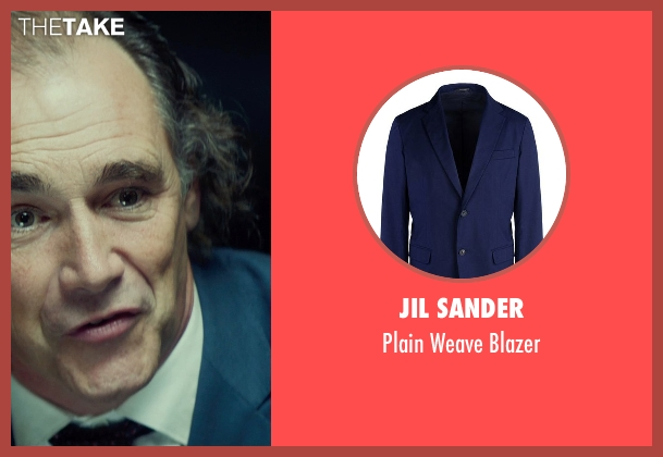 Jil Sander blue blazer from The Gunman seen with Mark Rylance (Cox)