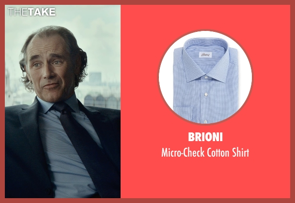 Brioni blue shirt from The Gunman seen with Mark Rylance (Cox)