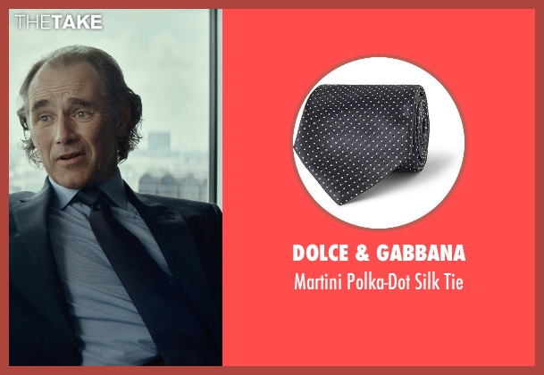 Dolce & Gabbana blue tie from The Gunman seen with Mark Rylance (Cox)