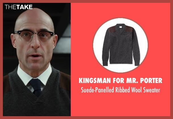 Kingsman for Mr. Porter gray sweater from Kingsman: The Secret Service seen with Mark Strong (Merlin)