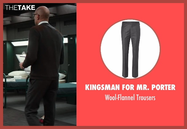 Kingsman for Mr. Porter gray trousers from Kingsman: The Secret Service seen with Mark Strong (Merlin)