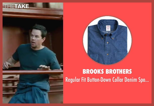 Brooks Brothers blue shirt from Contraband seen with Mark Wahlberg (Chris Farraday)