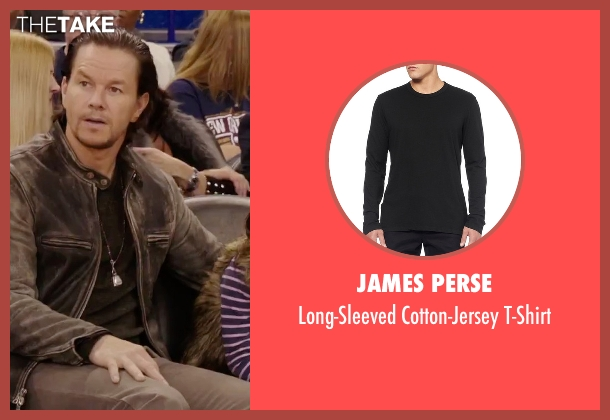 James Perse black t-shirt from Daddy's Home seen with Mark Wahlberg (Dusty Mayron)