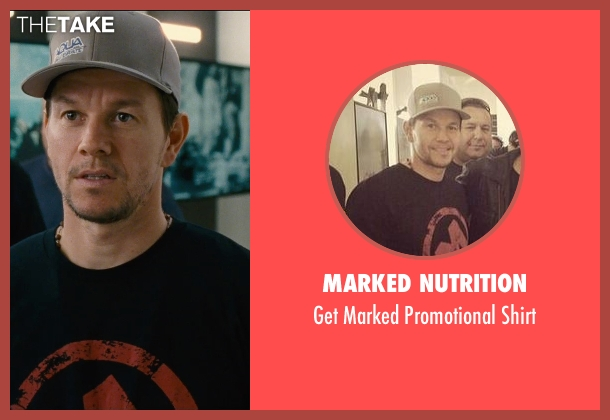 Marked Nutrition black shirt from Entourage seen with Mark Wahlberg