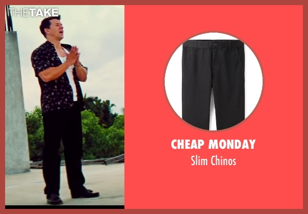 Cheap Monday black chinos from Pain & Gain seen with Mark Wahlberg (Daniel Lugo)