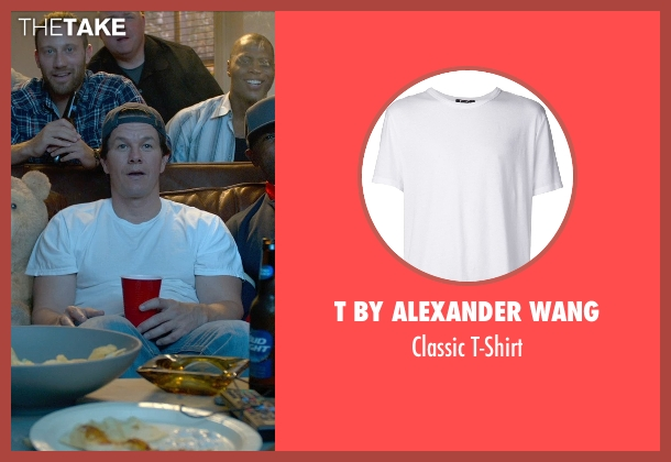 T by Alexander Wang white t-shirt from Ted 2 seen with Mark Wahlberg (John Bennett)