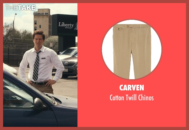 Carven beige chinos from Ted seen with Mark Wahlberg (John Bennett)