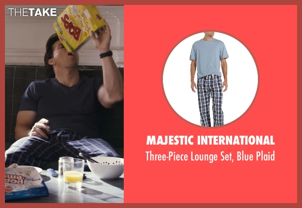 Majestic International blue plaid from Ted seen with Mark Wahlberg (John Bennett)
