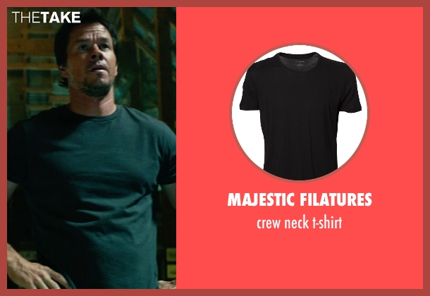 MAJESTIC FILATURES black t-shirt from Transformers: Age of Extinction seen with Mark Wahlberg (Cade Yeager)