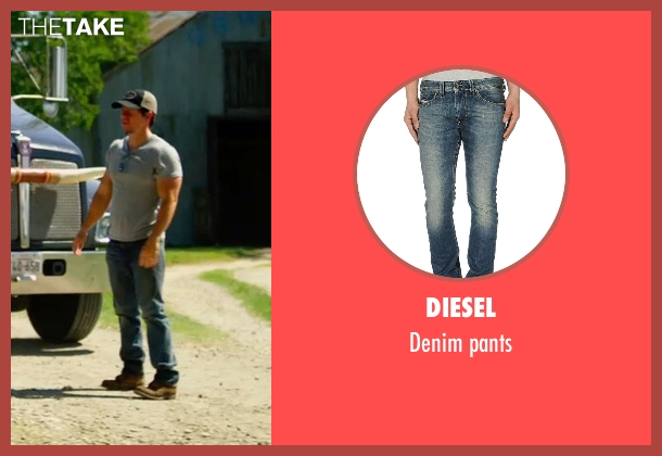DIESEL blue pants from Transformers: Age of Extinction seen with Mark Wahlberg (Cade Yeager)
