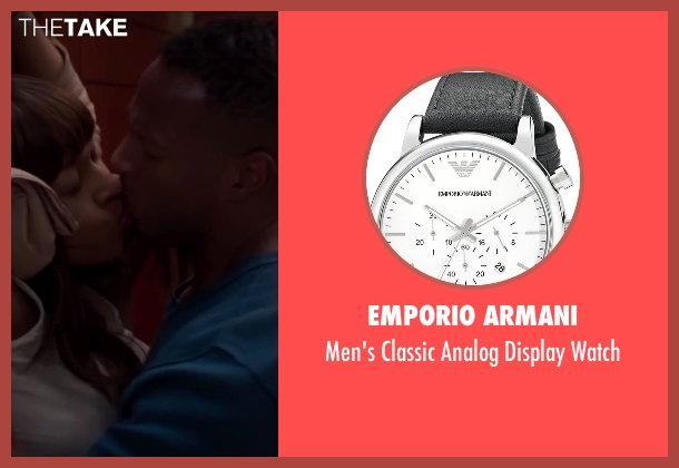 Emporio Armani black watch from Fifty Shades of Black seen with Marlon Wayans (Christian Black)