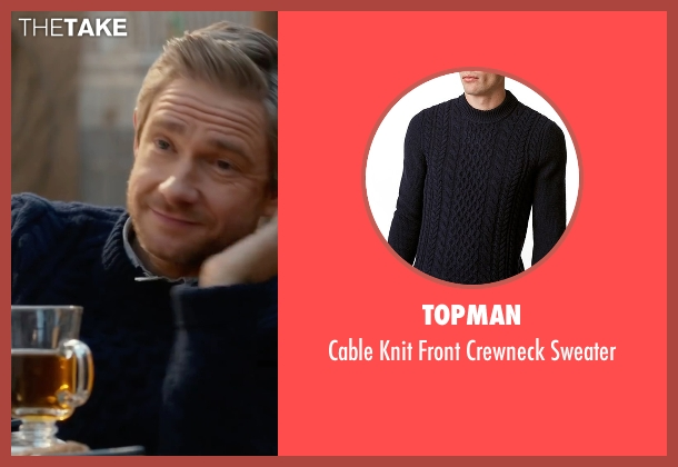 Topman blue sweater from Whiskey Tango Foxtrot seen with Martin Freeman (Iain MacKelpie)