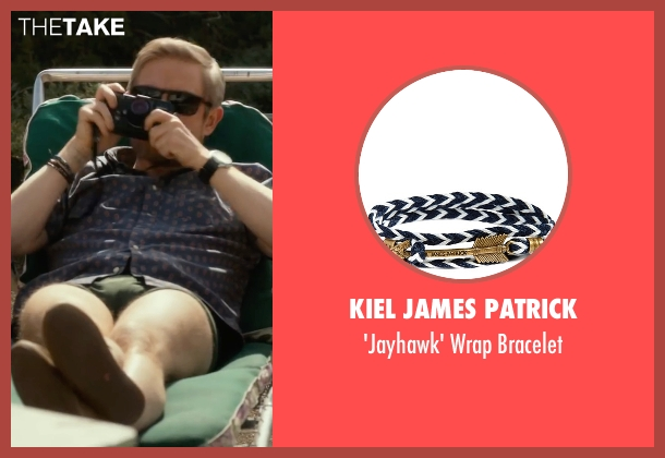 Kiel James Patrick blue wrap bracelet from Whiskey Tango Foxtrot seen with Martin Freeman (Iain MacKelpie)