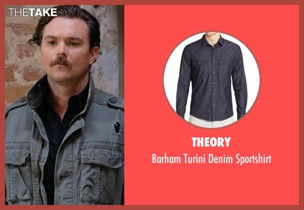 Theory black sportshirt from Lethal Weapon seen with Martin Riggs (Clayne Crawford)