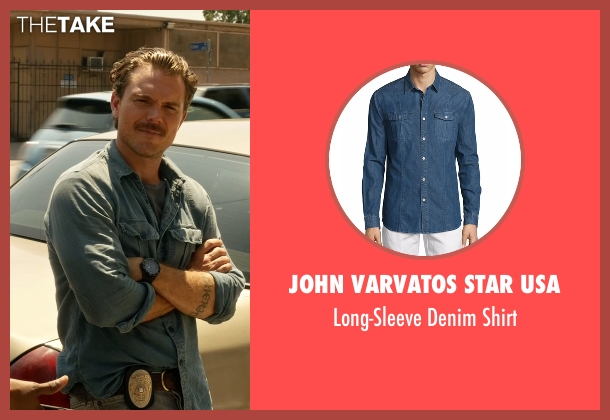 John Varvatos Star USA blue shirt from Lethal Weapon seen with Martin Riggs (Clayne Crawford)