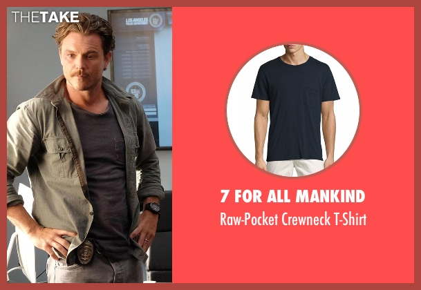 7 For All Mankind blue t-shirt from Lethal Weapon seen with Martin Riggs (Clayne Crawford)